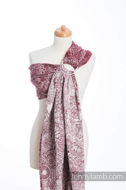 Ringsling, Jacquard Weave (100% cotton) - WILD WINE  - long 2.1m #babywearing
