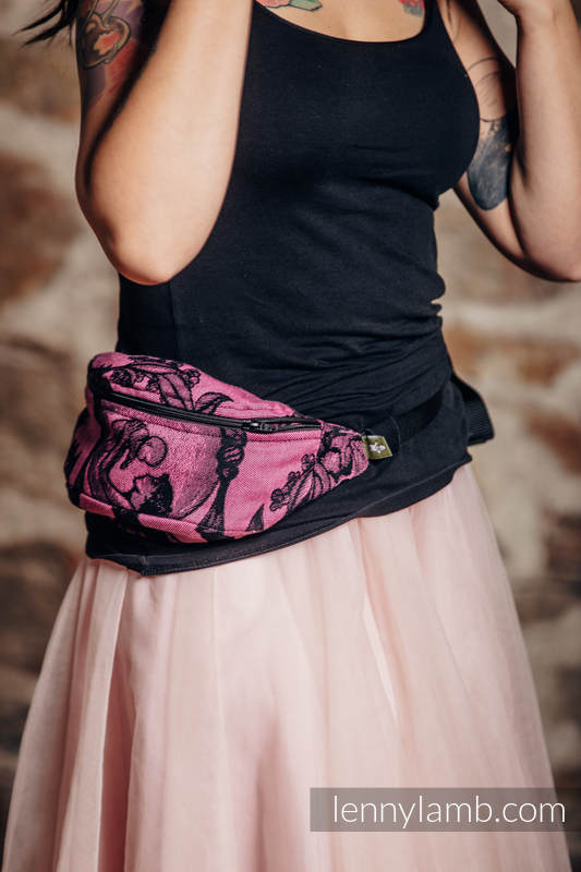 Waist Bag made of woven fabric, (100% cotton) - TIME BLACK & PINK (with skull)  #babywearing