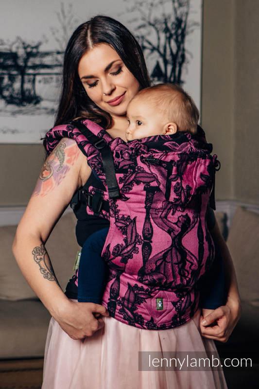 Nosidełko Ergonomiczne z tkaniny żakardowej 100% bawełna , Toddler Size, CZAS CZARNY Z RÓŻEM (z czaszką) - Druga Generacja #babywearing