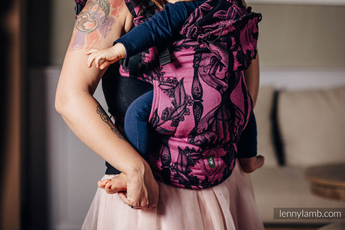 Ergonomic Carrier, Baby Size, jacquard weave 100% cotton - TIME BLACK & PINK (with skull) - Second Generation #babywearing