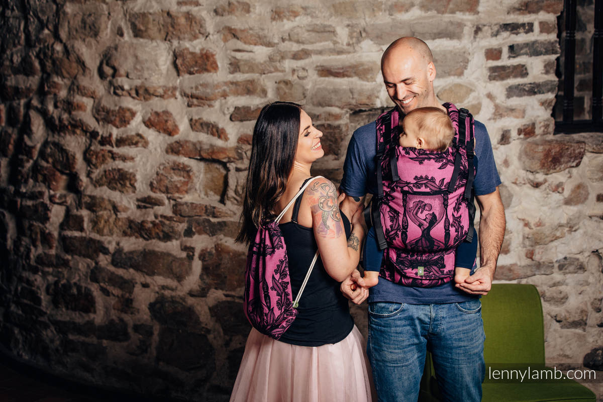 Mochila portaobjetos hecha de tejido de fular (100% algodón) - TIME NEGRO & ROSA (with skull) - talla estándar 32cmx43cm (grado B) #babywearing