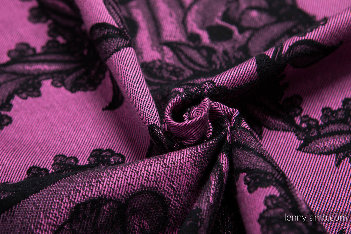 Baby Wrap, Jacquard Weave (100% cotton) - TIME BLACK & PINK (with skull) - size XS #babywearing