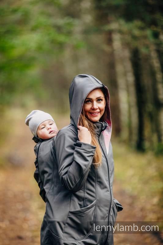 Babywearing Coat - Softshell - Charcoal with Little Herringbone Elegance - size XL (grade B) #babywearing