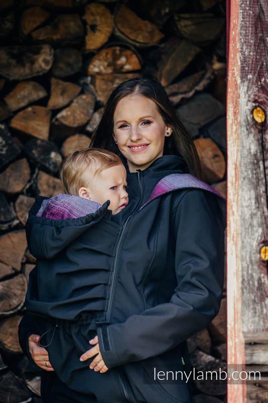 Babywearing Coat - Softshell - Black with Little Herringbone Inspiration - size M (grade B) #babywearing