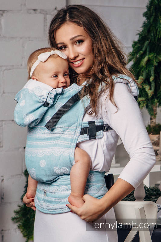 Nosidełko Ergonomiczne z tkaniny żakardowej 60% Bawełna 28% Len 12% Jedwab Tussah, Baby Size, ARKTYCZNA KORONKA, Druga Generacja #babywearing