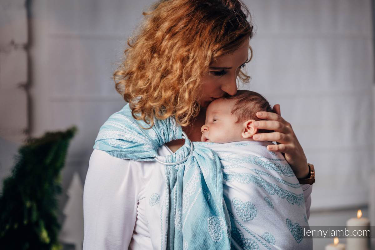 Ringsling, Jacquard Weave, with gathered shoulder (60% cotton 28% linen 12% tussah silk) - ARCTIC LACE - long 2.1m #babywearing