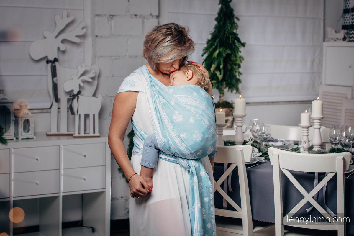 Baby Wrap, Jacquard Weave (60% cotton 28% linen 12% tussah silk) - ARCTIC LACE - size M #babywearing
