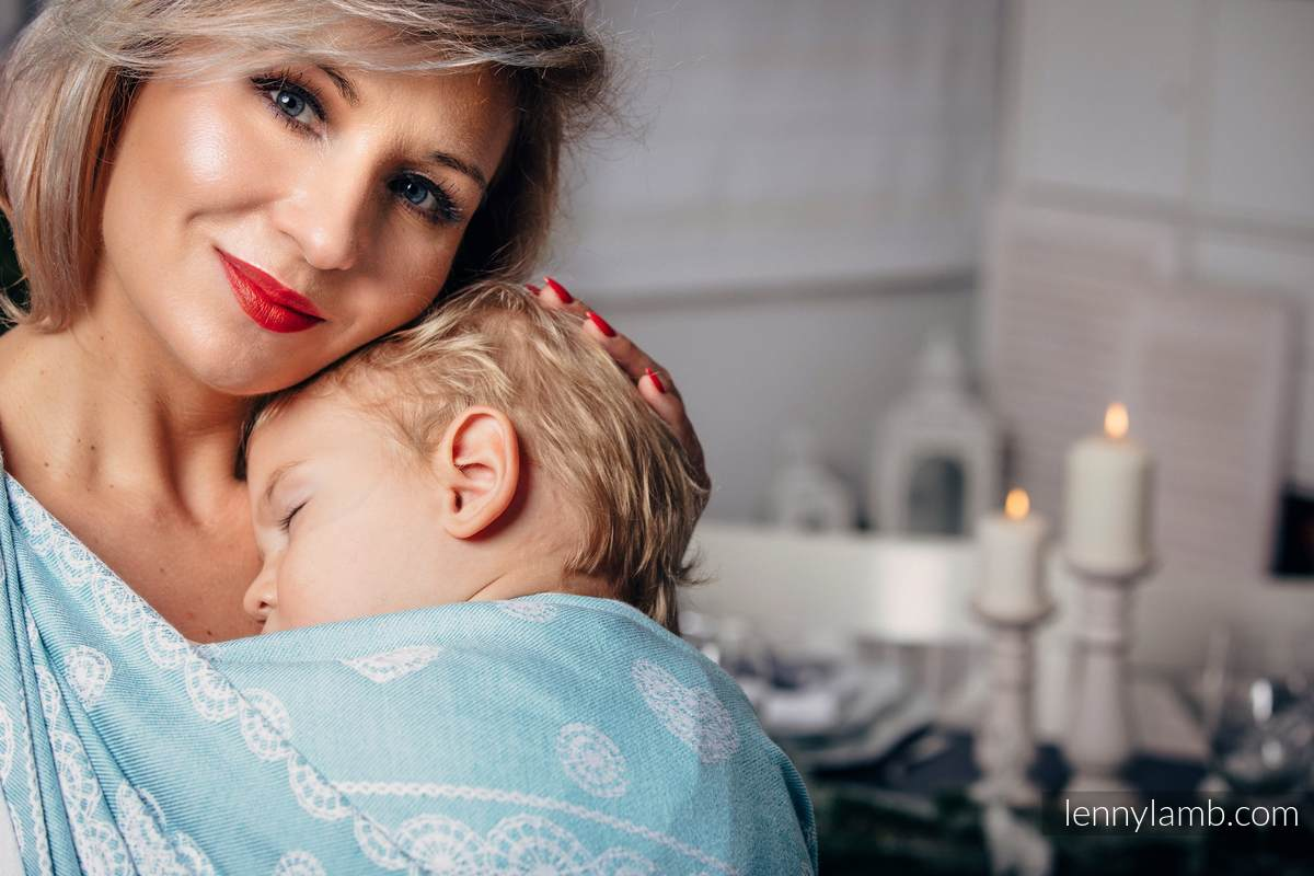 Baby Wrap, Jacquard Weave (60% cotton 28% linen 12% tussah silk) - ARCTIC LACE - size M (grade B) #babywearing