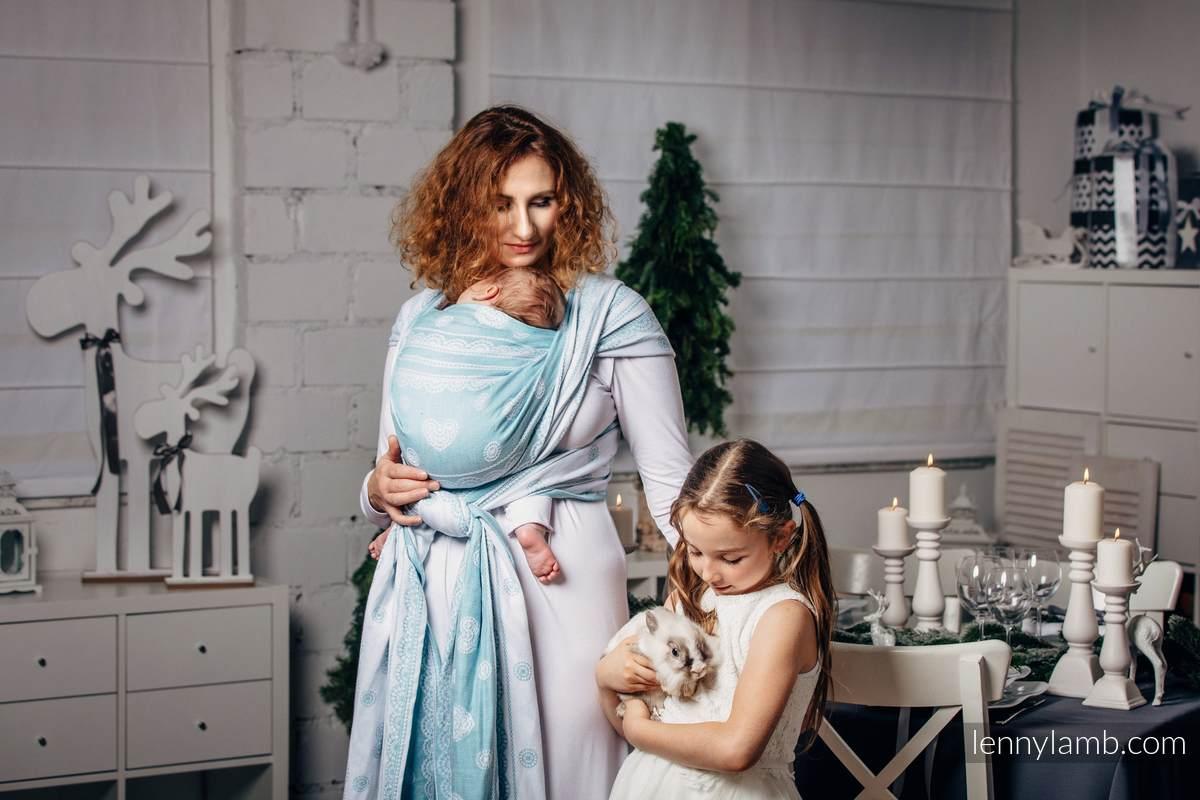 Baby Wrap, Jacquard Weave (60% cotton 28% linen 12% tussah silk) - ARCTIC LACE - size XL #babywearing