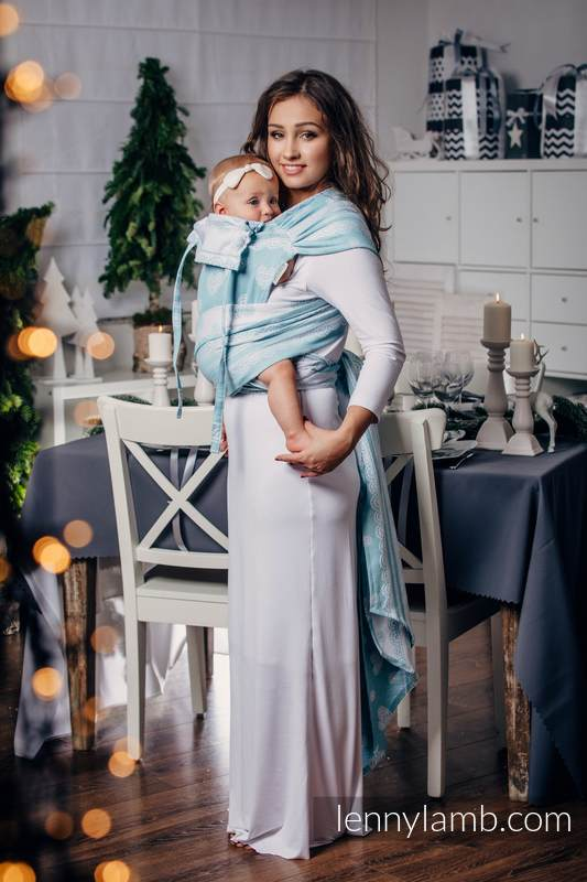Nosidełko dla dzieci WRAP-TAI MINI, 60% Bawełna 28% Len 12% Jedwab Tussah, splot żakardowy, z kapturkiem, ARKTYCZNA KORONKA  (drugi gatunek) #babywearing