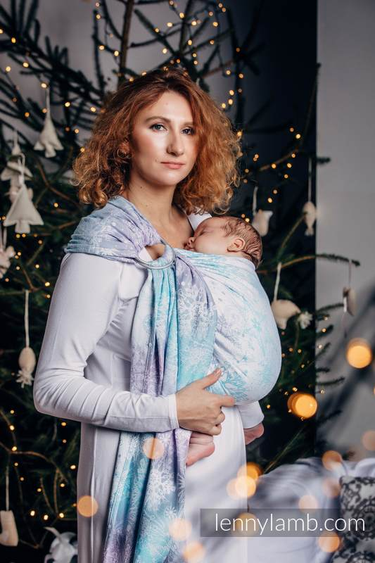 Ringsling, Jacquard Weave (96% cotton, 4% metallised yarn) - with gathered shoulder - GLITTERING SNOW QUEEN  - standard 1.8m #babywearing