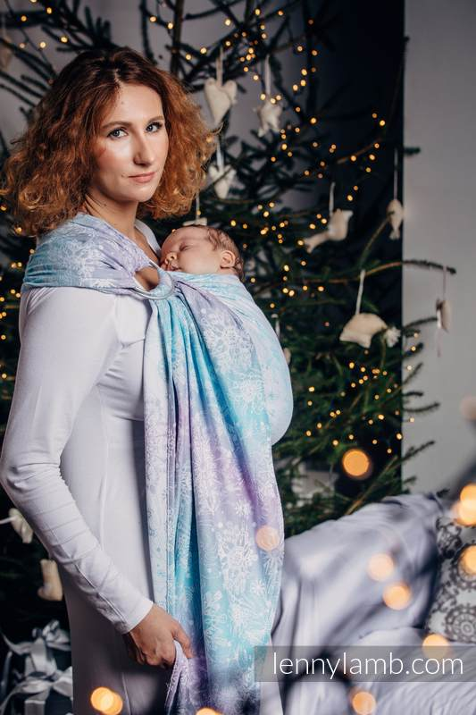 Ringsling, Jacquard Weave (96% cotton, 4% metallised yarn) - GLITTERING SNOW QUEEN  - long 2.1m #babywearing