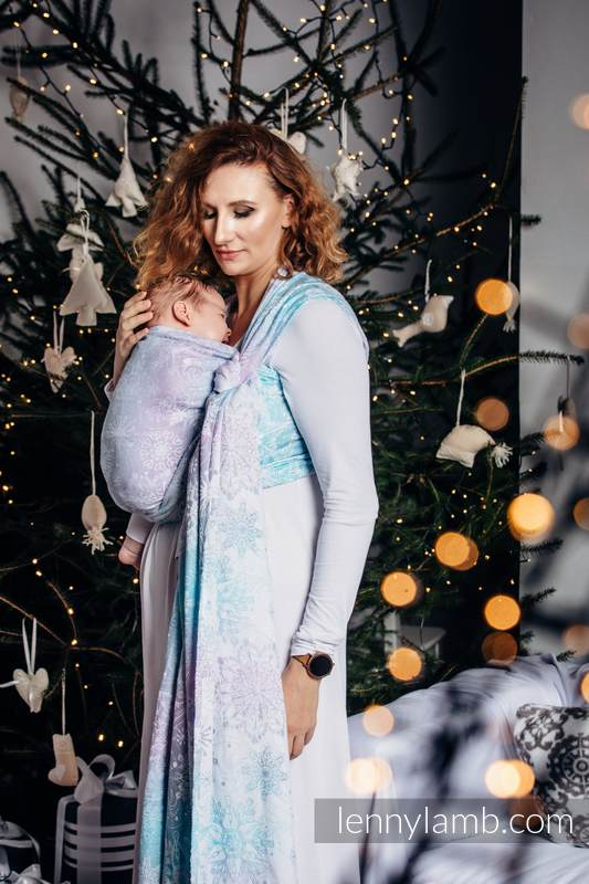 Baby Wrap, Jacquard Weave (96% cotton, 4% metallised yarn) - GLITTERING SNOW QUEEN - size M (grade B) #babywearing