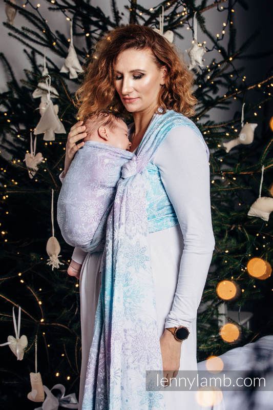 Baby Wrap, Jacquard Weave (96% cotton, 4% metallised yarn) - GLITTERING SNOW QUEEN - size L #babywearing