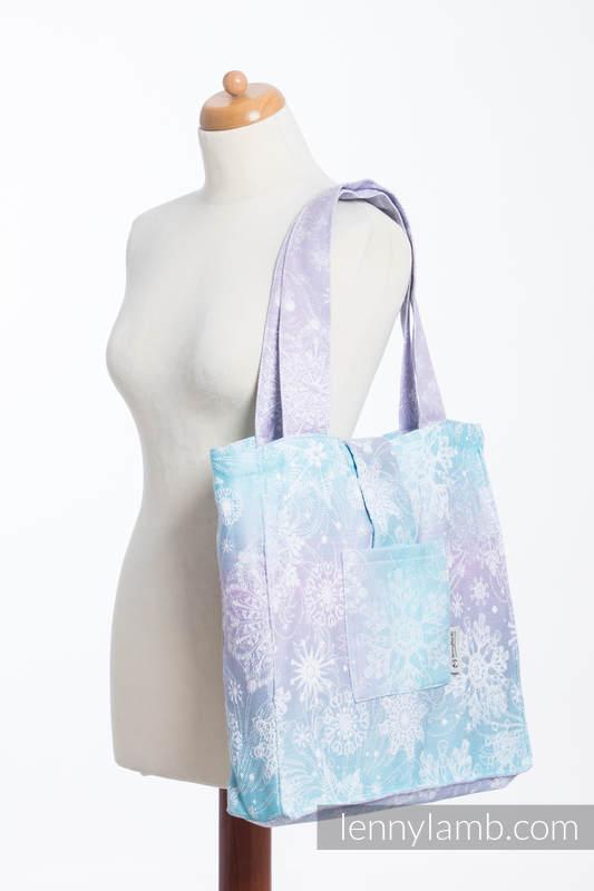 Shoulder bag made of wrap fabric (96% cotton, 4% metallised yarn) - GLITTERING SNOW QUEEN  - standard size 37cmx37cm #babywearing