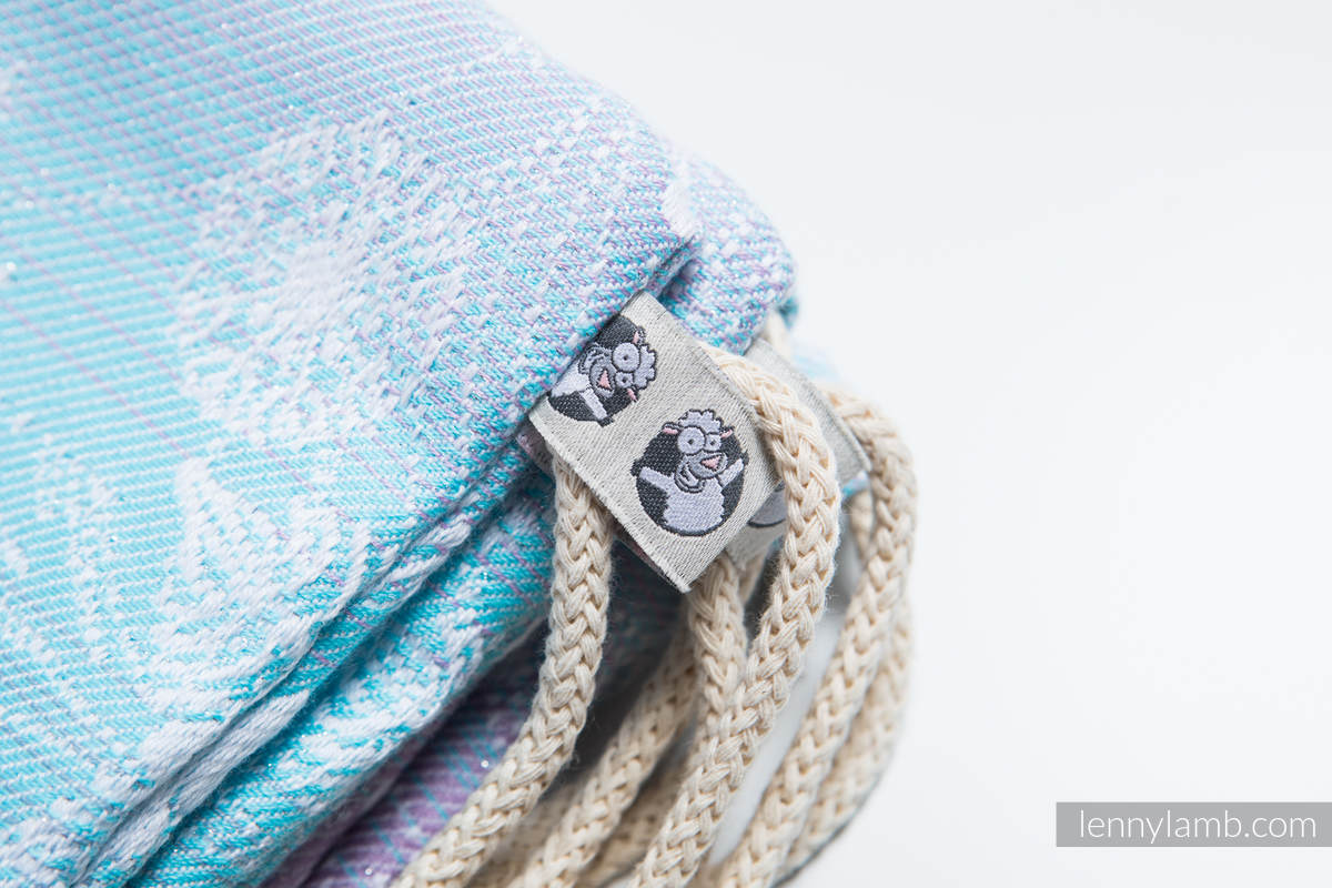 Mochila portaobjetos hecha de tejido de fular (96% algodón, 4% hilo metalizado) - GLITTERING SNOW QUEEN - talla estándar 32cmx43cm #babywearing