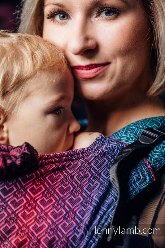 Ergonomic Carrier, Toddler Size, jacquard weave 60% combed cotton, 28% Merino wool, 8% silk, 4% cashmere - BIG  LOVE - BLACK OPAL, Second Generation #babywearing