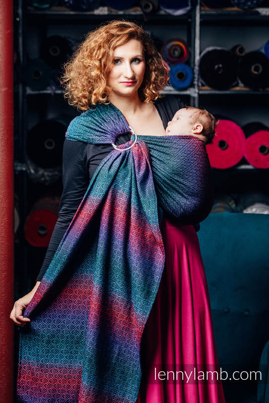 Ringsling, Jacquard Weave (60% combed cotton, 28% Merino wool, 8% silk, 4% cashmere) - BIG LOVE - BLACK OPAL #babywearing