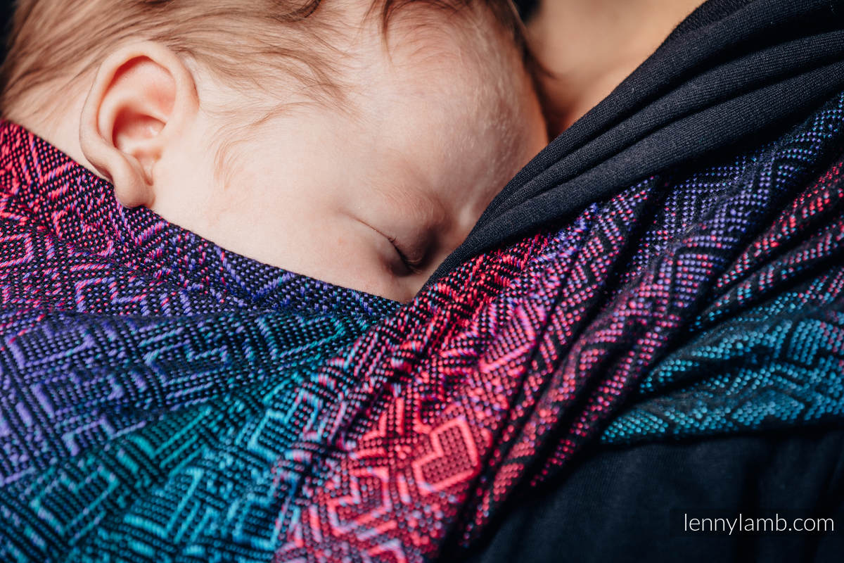 Baby Wrap, Jacquard Weave (60% combed cotton, 28% Merino wool, 8% silk, 4% cashmere) - BIG LOVE - BLACK OPAL - size XL #babywearing