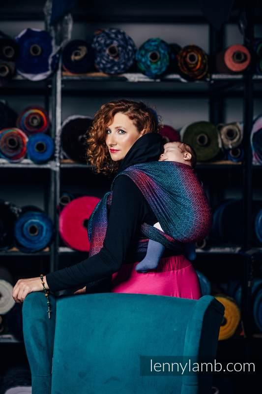 Baby Wrap, Jacquard Weave (60% combed cotton, 28% Merino wool, 8% silk, 4% cashmere) - BIG LOVE - BLACK OPAL - size XS #babywearing
