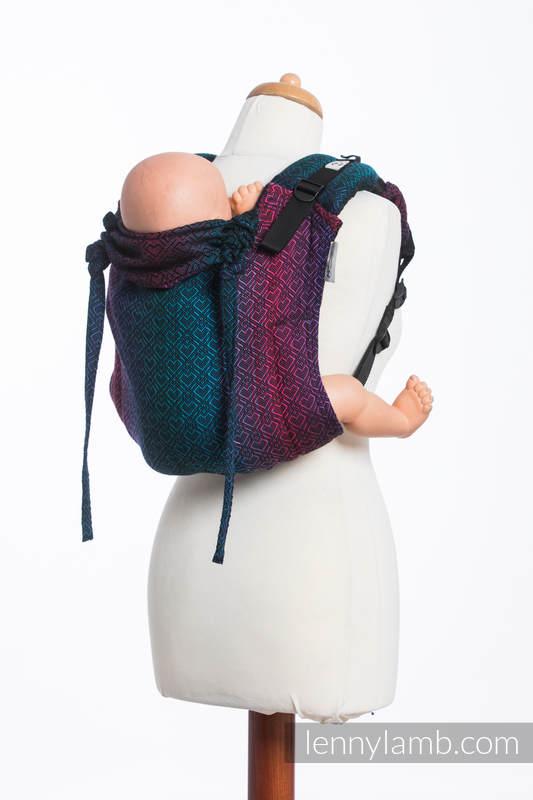 Lenny Buckle Onbuhimo  Tragehilfe, Größe Standard, Jacquardwebung (60% Baumwolle, 28% Merinowolle, 8% Seide, 4% Kaschmir) - BIG LOVE - BLACK OPAL #babywearing