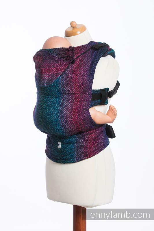 Ergonomic Carrier, Baby Size, jacquard weave 60% combed cotton, 28% Merino wool, 8% silk, 4% cashmere - BIG LOVE - BLACK OPAL, Second Generation #babywearing