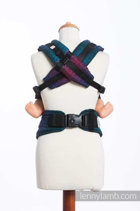 LennyUp Carrier, Standard Size, jacquard weave (60% combed cotton, 28% Merino wool, 8% silk, 4% cashmere) - BIG LOVE - BLACK OPAL #babywearing