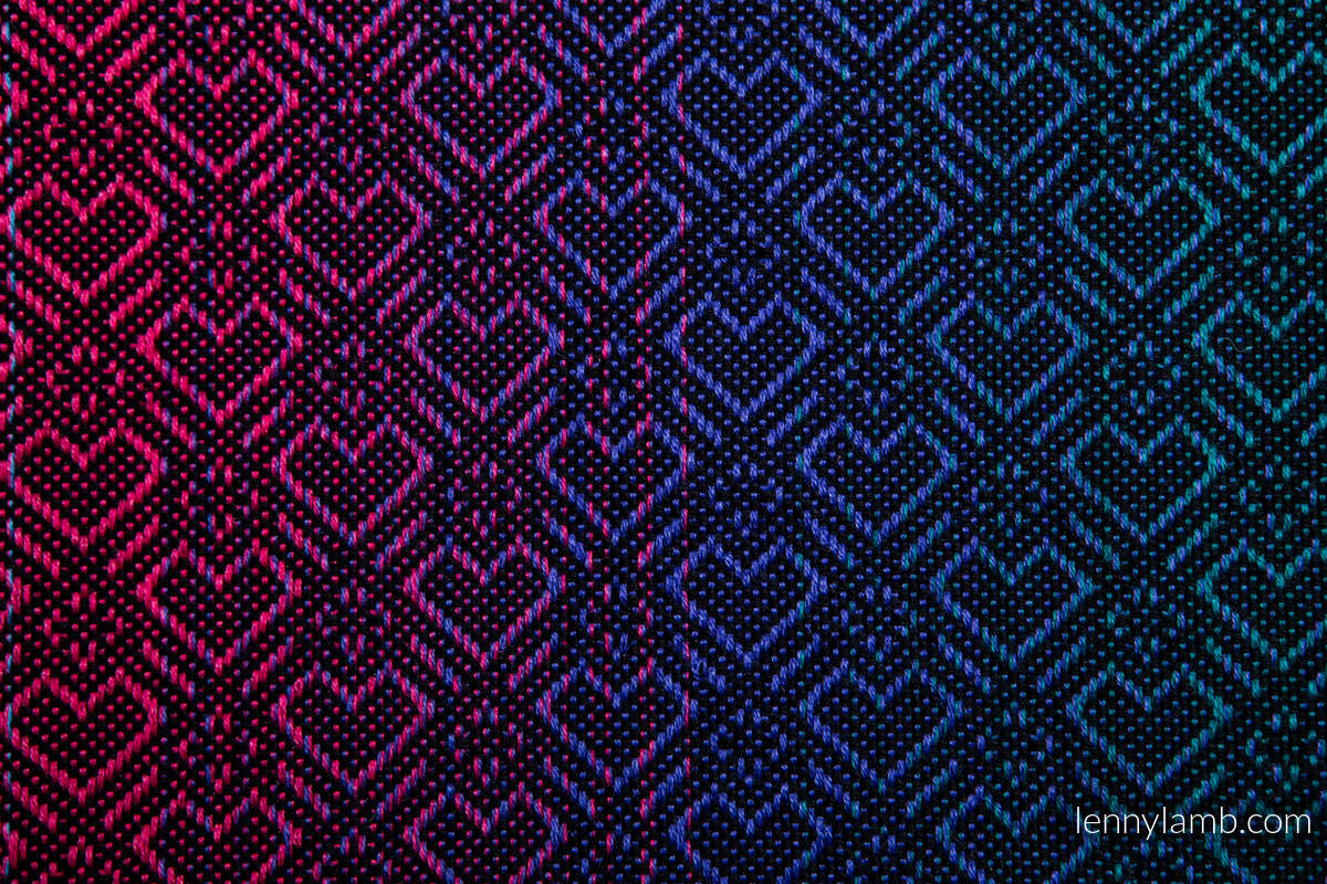 Baby Wrap, Jacquard Weave (60% combed cotton, 28% Merino wool, 8% silk, 4% cashmere) - BIG LOVE - BLACK OPAL - size M #babywearing