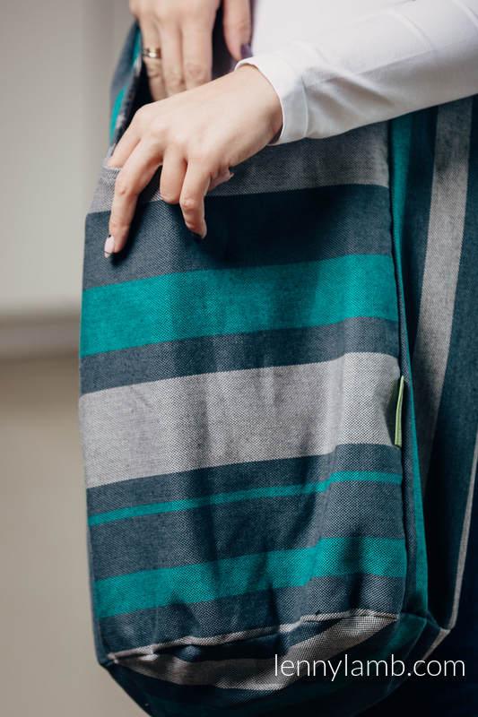 Torba Hobo z materiału chustowego, (100% bawełna) - SMOKY - MIĘTA  #babywearing