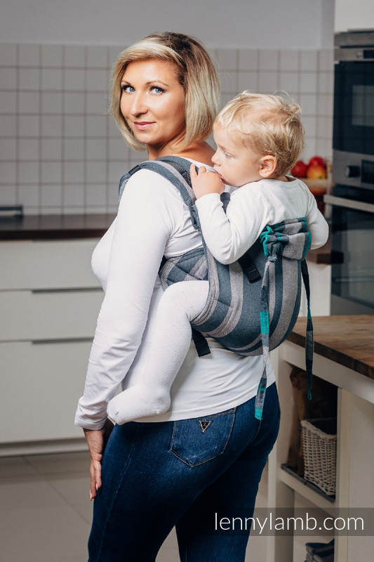 Lenny Buckle Onbuhimo, standard size, broken-twill weave (100% cotton) - Wrap conversion from SMOKY - MINT  #babywearing