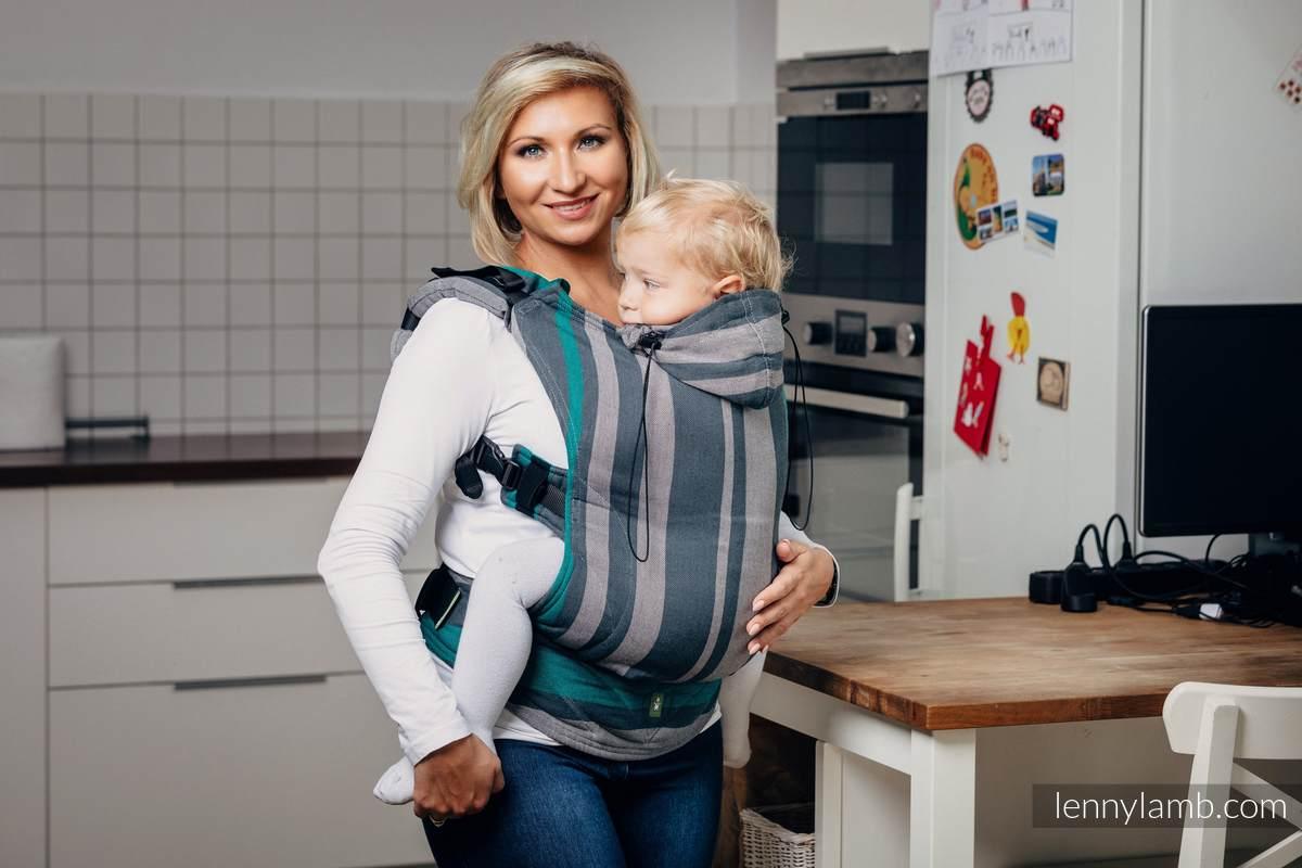 Nosidełko Ergonomiczne z tkaniny skośnokrzyżowej 100% bawełna , Toddler Size, SMOKY - MIĘTA - Druga Generacja. #babywearing