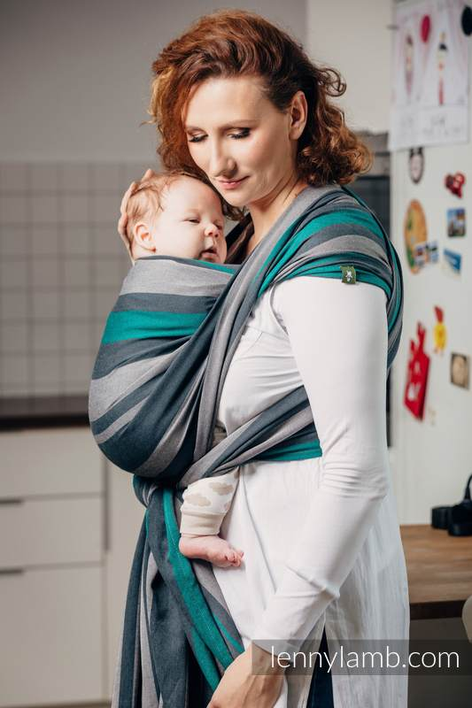 Fular, sarga cruzada - SMOKY - MINT - talla XL #babywearing