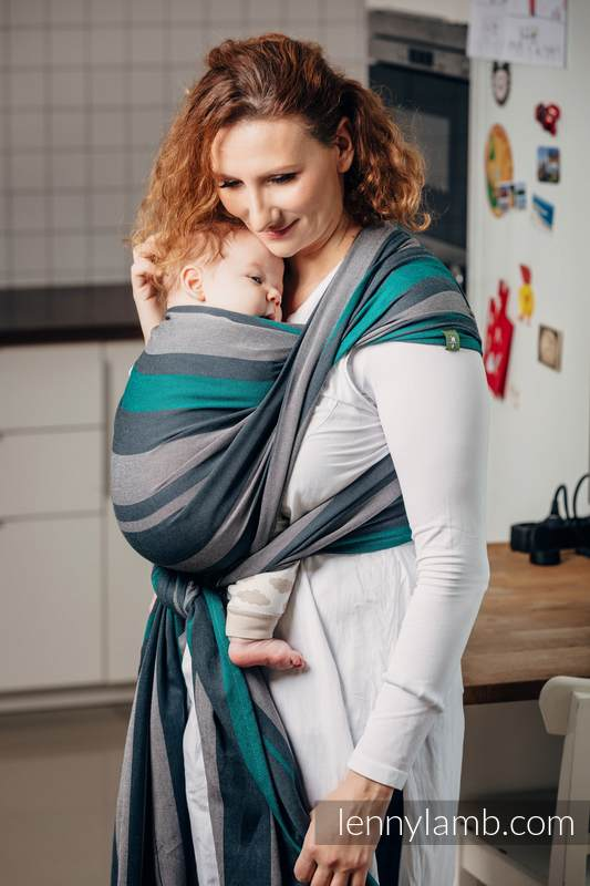 Baby Sling, Broken Twill Weave, 100% cotton,  SMOKY - MINT - size S #babywearing