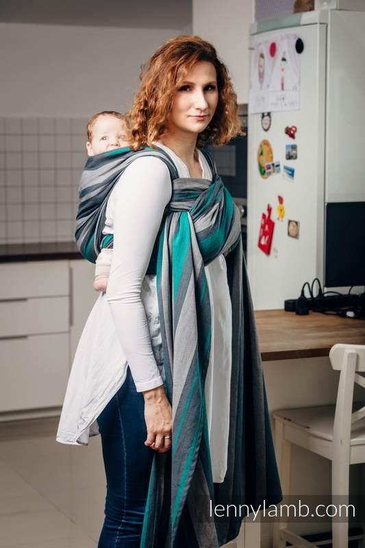 Chusta do noszenia dzieci, tkana splotem skośno-krzyżowym (100% bawełna) - SMOKY - MIĘTA - rozmiar XS (drugi gatunek) #babywearing