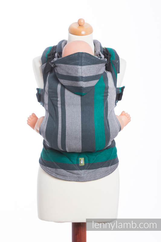 Ergonomic Carrier, Baby Size, broken-twill weave 100% cotton - wrap conversion from SMOKY - MINT - Second Generation. #babywearing