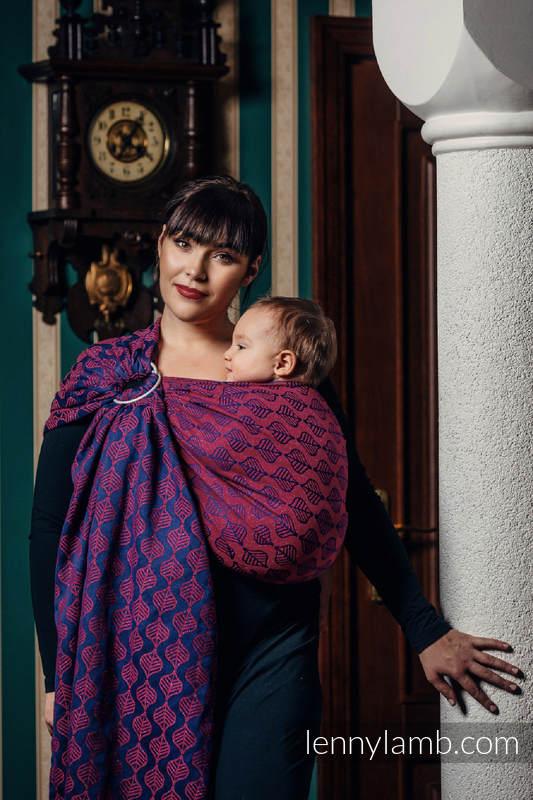Bandolera de anillas, tejido Jacquard (60% algodón, 36% lana merino, 4% hilo metalizado) - AMARYLLIS PETALS - standard 1.8m #babywearing