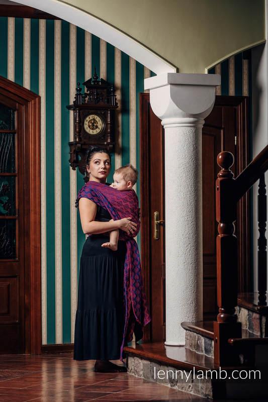 Baby Wrap, Jacquard Weave (60% cotton, 36% merino wool, 4% metallised yarn) - AMARYLLIS PETALS - size S (grade B) #babywearing