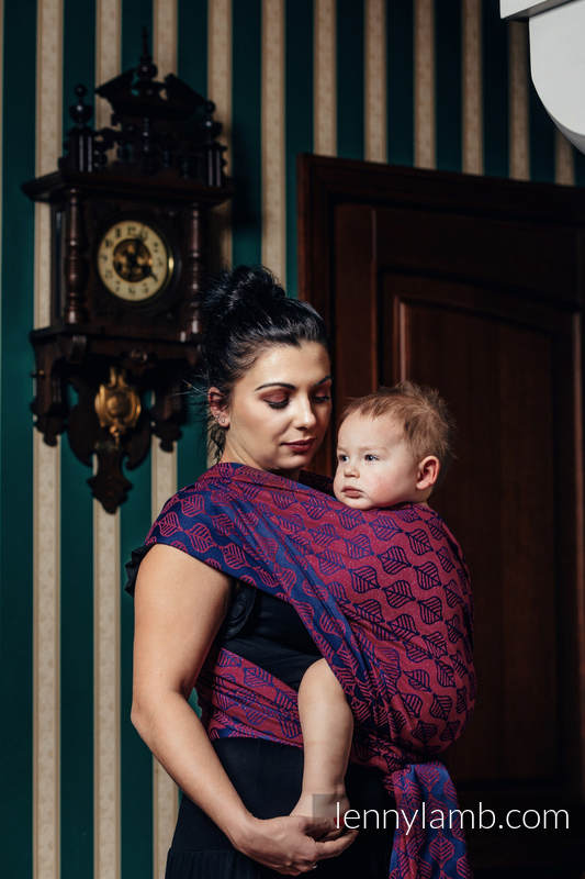 Fular, tejido jacquard (60% algodón, 36% lana merino, 4% hilo metalizado) - AMARYLLIS PETALS - talla XS (grado B) #babywearing