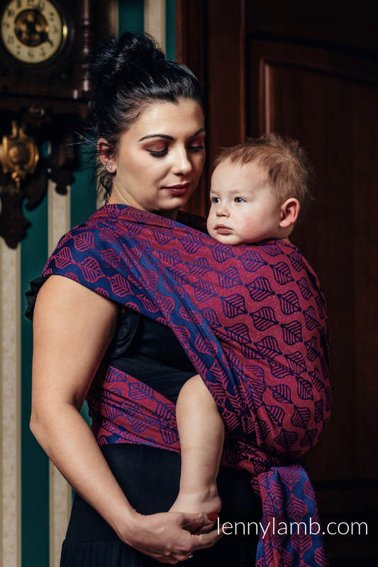 Fular, tejido jacquard (60% algodón, 36% lana merino, 4% hilo metalizado) - AMARYLLIS PETALS - talla L #babywearing