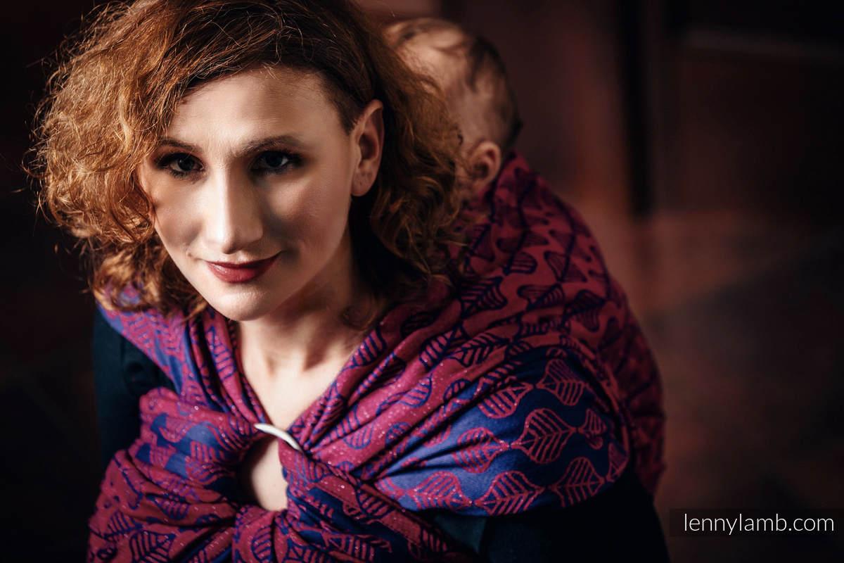 Baby Wrap, Jacquard Weave (60% cotton, 36% merino wool, 4% metallised yarn) - AMARYLLIS PETALS - size XS #babywearing