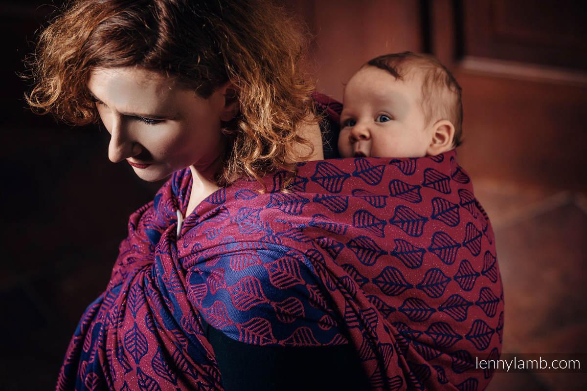 Fular, tejido jacquard (60% algodón, 36% lana merino, 4% hilo metalizado) - AMARYLLIS PETALS - talla S (grado B) #babywearing