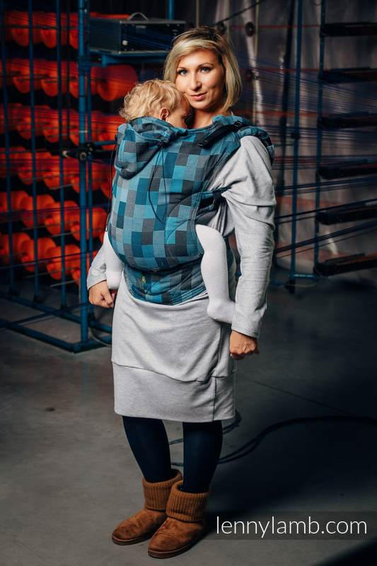 Ergonomic Carrier, Baby Size, crackle weave 100% cotton - QUARTET RAINY - Second Generation #babywearing