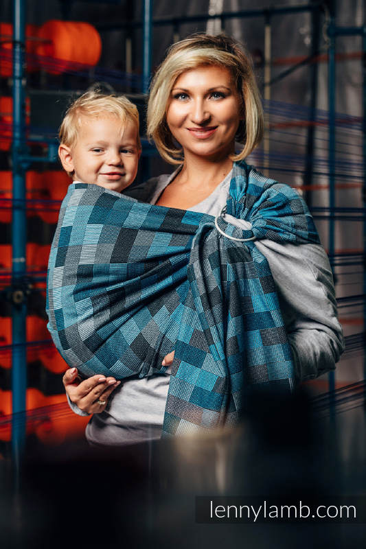 Ringsling, Crackle Weave (100% cotton) - with gathered shoulder - QUARTET RAINY  #babywearing