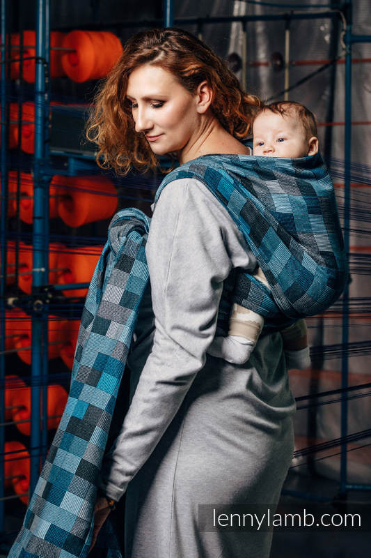 Baby Wrap, Crackle Weave (100% cotton) - QUARTET RAINY - size L #babywearing