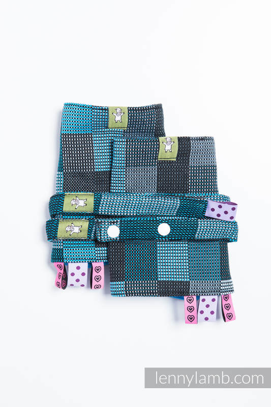 Drool Pads & Reach Straps Set, (60% cotton, 40% polyester) - QUARTET RAINY  #babywearing