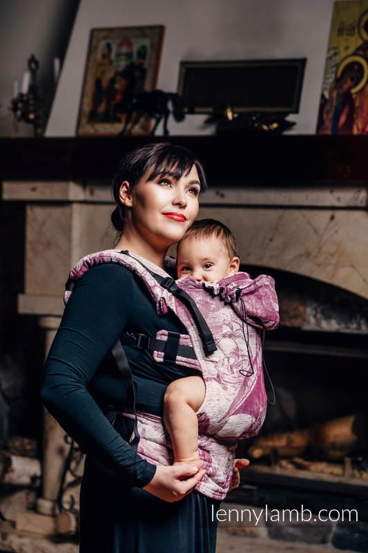Nosidełko Ergonomiczne z tkaniny żakardowej 60% bawełna czesana, 40% wełna merino, Toddler Size, GALEONY BORDO Z KREMEM, Druga Generacja #babywearing
