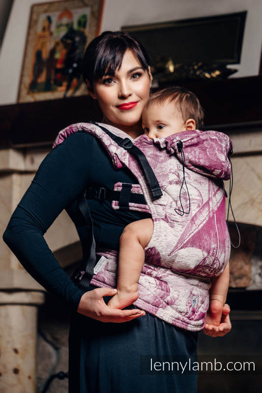 Ergonomic Carrier, Toddler Size, jacquard weave 60% combed cotton, 40% Merino wool - wrap conversion from GALLEONS BURGUNDY & CREAM, Second Generation #babywearing