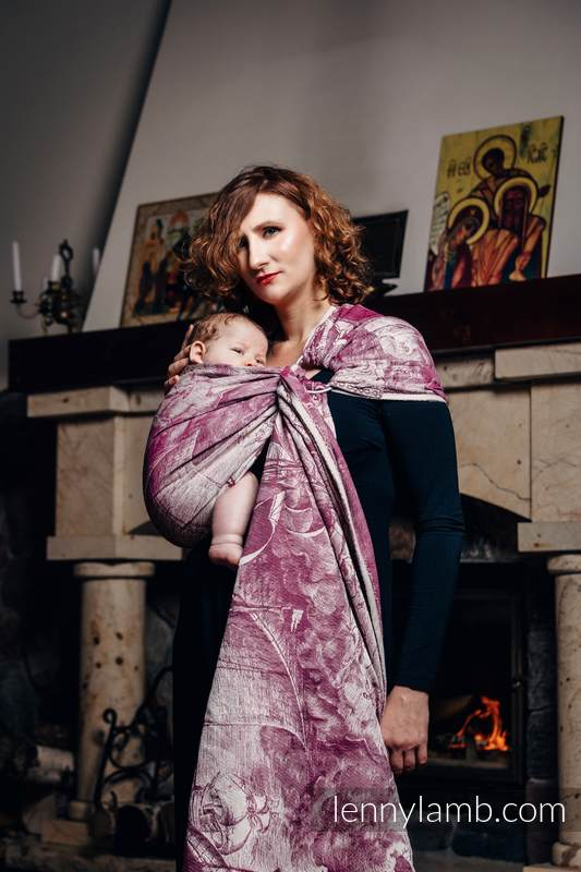 Ringsling, Jacquard Weave (60% combed cotton, 40% Merino wool), with gathered shoulder - GALLEONS BURGUNDY & CREAM #babywearing