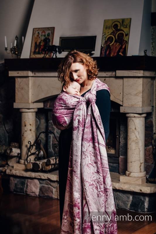 Baby Wrap, Jacquard Weave (60% combed cotton, 40% Merino wool) - GALLEONS BURGUNDY & CREAM - size M #babywearing