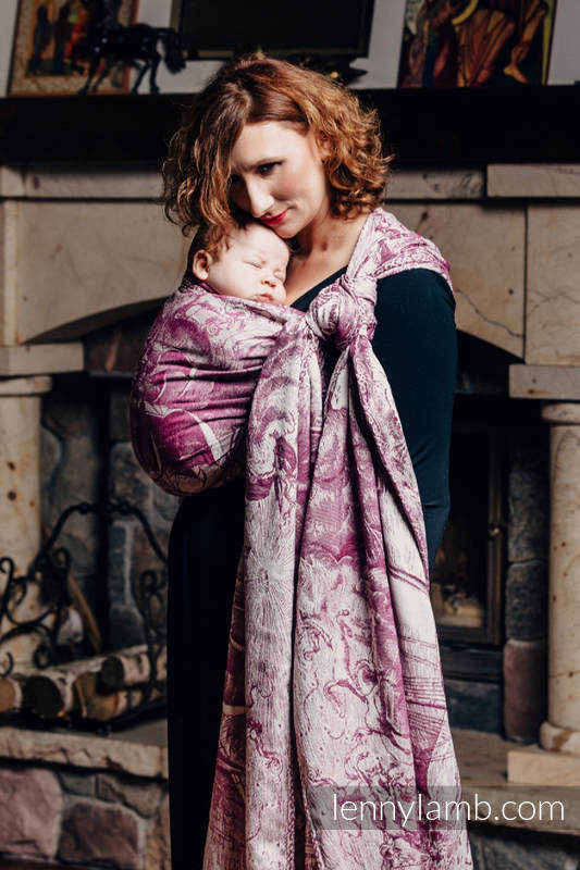 Baby Wrap, Jacquard Weave (60% combed cotton, 40% Merino wool) - GALLEONS BURGUNDY & CREAM - size XS #babywearing